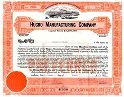 Hugro Manufacturing Company 1920's