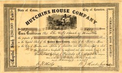 Hutchins House Company signed by William J. Hutchins  - Houston, Texas 1877