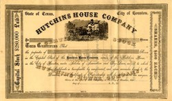 Hutchins House Company (Famous Houston Hotel) - Texas 1877