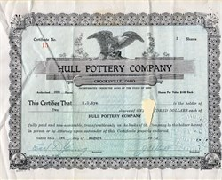 Hull Pottery Company signed by J.B. Hull - Crooksville, Ohio 1952