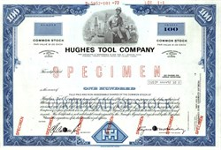 Hughes Tool Company IPO Certificate (Howard Hughes, Jr., sold Hughes Tool Company in an IPO ) - Delaware 1972