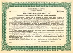 Hydro Electric Company Negotiable Interim Gold Bond - Delaware 1923
