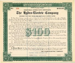 Hydro Electric Company Negotiable Gold Coupon Interim Note - Pennsylvania 1923