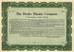 Hydro Electric Company  (Gold Note Certificate ) - New Jersey 1926