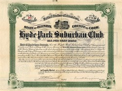 Hyde Park Suburban Club signed by Van H. Higgins - Illinois 1890