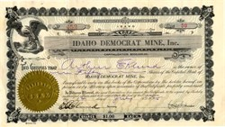Idaho Democrat Mine, Inc. -  Mineral Hill District, Blaine Co., Idaho - 1925