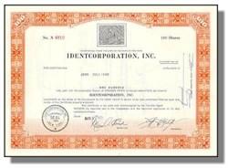 Identcorporation, Inc Stock Certificate - Fingerprint Vignette