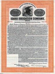 Idaho Irrigation Company Gold bond  - Idaho 1913