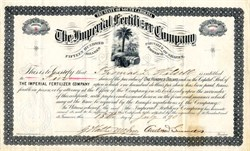 Imperial Fertilizer Company signed by Andrew Simonds - South Carolina 1890