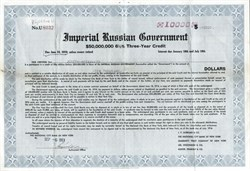 Imperial Russian Government $10,000 Three Year Credit - 1916