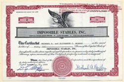 Impossible Stables, Inc signed by horse racing pioneer Michael Morphy - California 1969