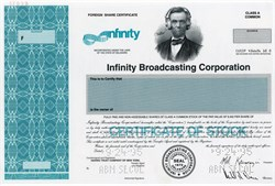 Infinity Broadcasting Corporation with Mel Karmazin as President (Vignette of Lincoln with Headphones) - 1995