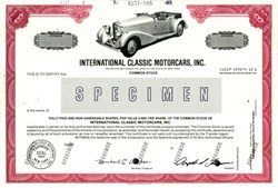International Classic Motorcars, Inc. - New York 1985