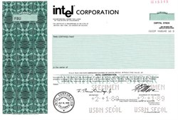 Intel (Computer Chip Maker) - No longer issuing Stock Certificates - Specimen - California 1989