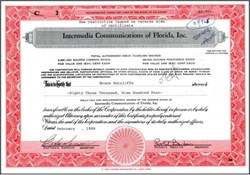 Intermedia Communications of Florida, Inc. - RARE Pre IPO Shares (Now WorldCom Company)