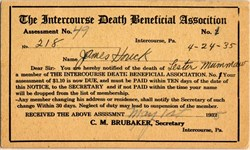 Intercourse Death Benefit Assessment Notification (Really) - Pennsylvania 1935