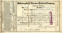 Indianapolis & Vincennes Railroad signed by Thomas A. Scott (Assistant Secretary of War during Civil War) - 1876