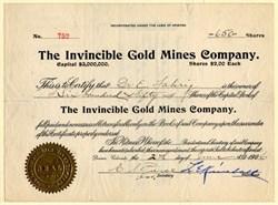 Invincible Gold Mines Company - Teller. Cripple Creek. Colorado - Organized in  Arizona 1906