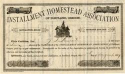 Installment Homestead Association signed twice by David Solis Cohen  - Portland, Oregon 1887