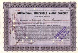 International Mercantile Marine Company stock certificate #18  - Owned RMS Titanic (Issued to Edward Charles Grenfell)  - 1905