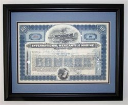 International Mercantile Marine Framed - Titanic Owners and Operators when ship sunk