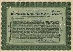 International Mercantile Marine (White Star Lines - Titanic Owner) hand signed by Philip Albright Small Franklin  - 1915