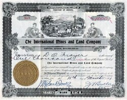 International Mines and Land Company - Territory of Arizona - 1911