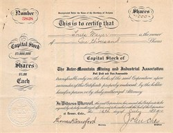 Inter - Mountain Mining and Industrial Association - Territory of Arizona 1910