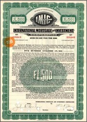 International Mortgage and Investment Corporation 1928 - Amsterdam, Holland - 500 Guilders