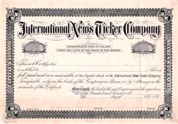 International News Ticker Company - New Jersey 1893