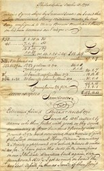 Invoice of Goods shipped by Sloop Merrimack signed twice by Samuel Coates - Philadelphia 1791
