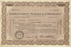 Intercontinent Petroleum Stock Certificate -  1931