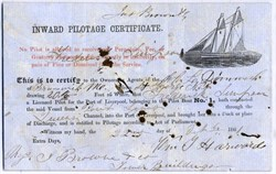 Inward Pilotage Certificate (Sailboat vignette)  - Liverpool, England 1861
