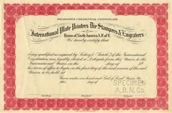 International Plate Printers Die Stampers & Engravers (RARE Specimen Certificate)