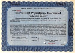 International Proprietaries, Incorporated - Early Medicine Company