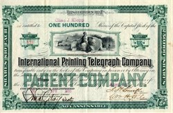 International Printing Telegraph Company  signed by Jacob Hays Linville -  New Jersey 1886