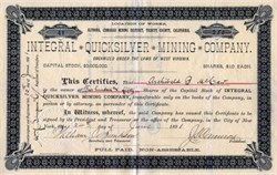 Integral Quicksilver Mining Company - Altoona, Cinnabar Mining District, Trinty County, California - 1891