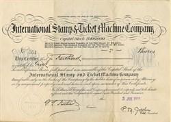 International Stamp & Ticket Machine Company - Maine 1912