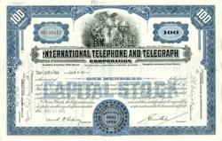 International Telephone and Telegraph Stock 1940's