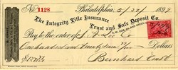 Integrity Title Insurance Trust and Safe Deposit Co. Check  - Philadelphia 1899
