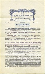 International Vineyards Incorporated Contract - California 1909