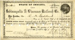 Indianapolis & Vincennes Railroad signed by Civil War General Ambrose E. Burnside 1867