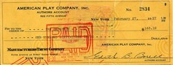 Ira Gershwin handsigned check from American Play Company - New York 1957