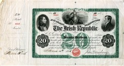 Irish Republic $20 Bond - 1866