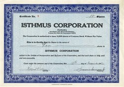 Isthmus Corporation - Panama 1931