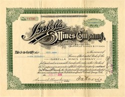 Isabella Mines Company -Teller. Cripple Creek. Incorporated in Wyoming 1916
