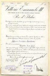 Italian document signed by King Victor Emanuele III and Benito Mussolini - 1927