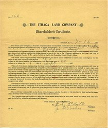Ithaca Land Company Shareholder's Certificate (Cayuga Lake and Cornell University)  - New York 1897