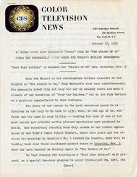 Original Color Television News CBS Press Release regarding Judy Garland ( First showing of The Wizard of Oz on TV)  - 1956