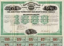 Jamesville and Washington Railroad Lumber Company - North Carolina 1873